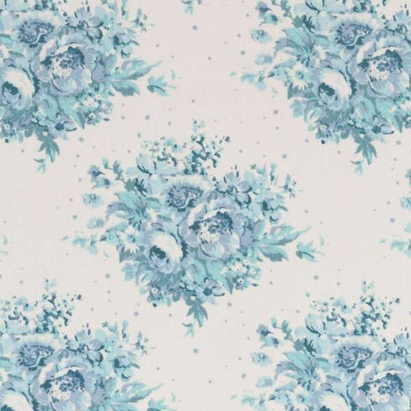 Summer Floral Blue On White 100 Cotton Fabric Sew Patch N Quilt